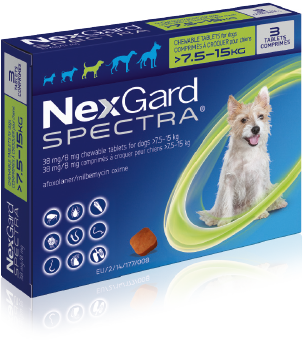 NexGard Spectra Pack image  for medium dogs over 7.5 kilograms up to 30 kilograms