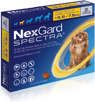 NexGard Spectra Pack image for small dogs over 3.5 kilograms up to 7.5 kilograms