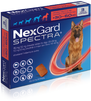 NexGard Spectra Pack image for extra large dogs over 30 kilograms up to 60 kilograms. For dogs over 60 kg use appropriate combinations of chewable tablets.